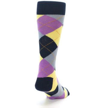 Image of Navy Purple Grey Yellow Argyle Men's Dress Socks (side-1-back-20)