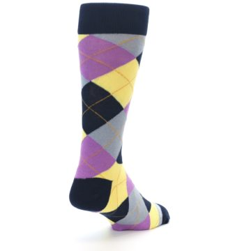 Image of Navy Purple Grey Yellow Argyle Men's Dress Socks (side-1-back-21)