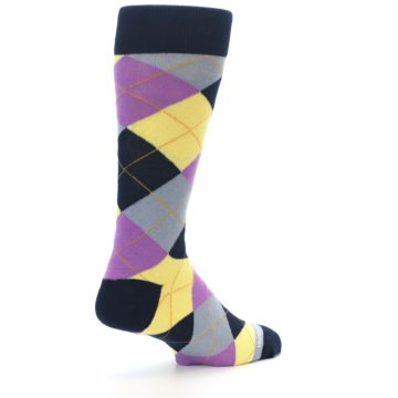 Image of Navy Purple Grey Yellow Argyle Men's Dress Socks (side-1-back-22)