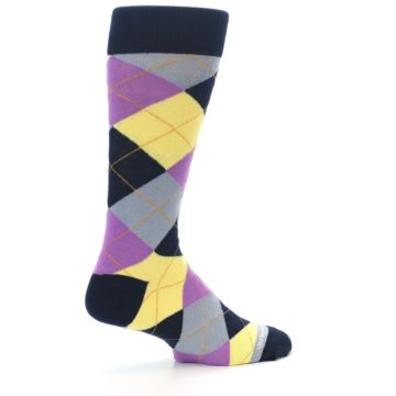 Image of Navy Purple Grey Yellow Argyle Men's Dress Socks (side-1-23)
