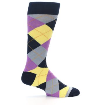 Image of Navy Purple Grey Yellow Argyle Men's Dress Socks (side-1-24)