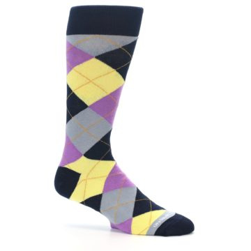 Image of Navy Purple Grey Yellow Argyle Men's Dress Socks (side-1-25)
