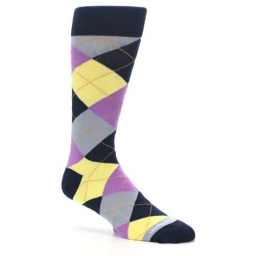 Image of Navy Purple Grey Yellow Argyle Men's Dress Socks (side-1-26)