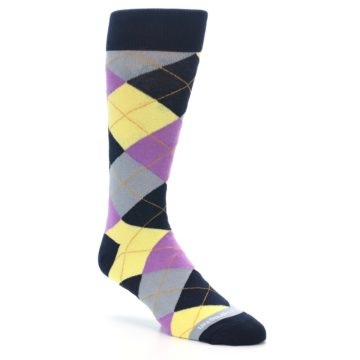 Image of Navy Purple Grey Yellow Argyle Men's Dress Socks (side-1-27)