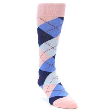 Image of Pink Blues Argyle Wedding Groomsmen Men's Dress Socks (side-1-front-02)