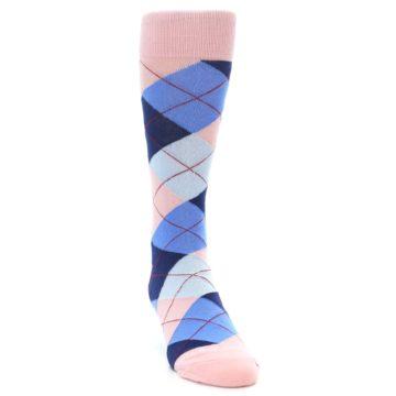 Image of Pink Blues Argyle Wedding Groomsmen Men's Dress Socks (side-1-front-03)