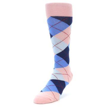 Image of Pink Blues Argyle Wedding Groomsmen Men's Dress Socks (side-2-front-07)