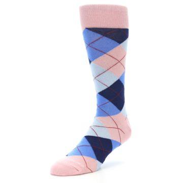 Image of Pink Blues Argyle Wedding Groomsmen Men's Dress Socks (side-2-front-08)