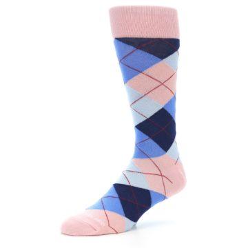 Image of Pink Blues Argyle Wedding Groomsmen Men's Dress Socks (side-2-09)