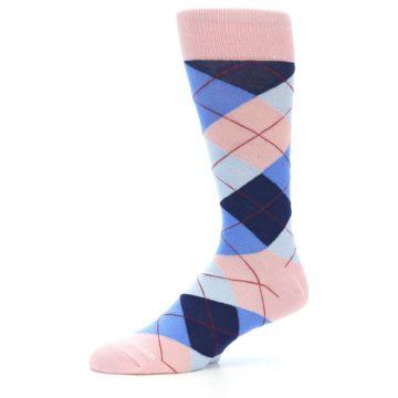 Image of Pink Blues Argyle Wedding Groomsmen Men's Dress Socks (side-2-10)