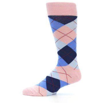 Image of Pink Blues Argyle Wedding Groomsmen Men's Dress Socks (side-2-11)
