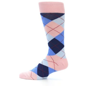 Image of Pink Blues Argyle Wedding Groomsmen Men's Dress Socks (side-2-12)
