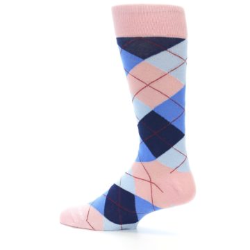 Image of Pink Blues Argyle Wedding Groomsmen Men's Dress Socks (side-2-13)