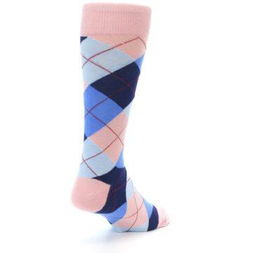 Image of Pink Blues Argyle Wedding Groomsmen Men's Dress Socks (side-1-back-21)