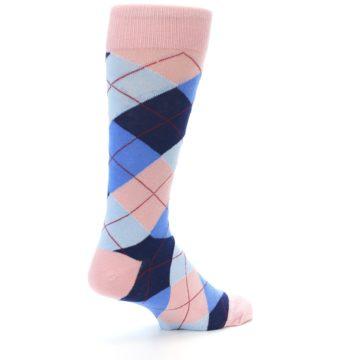 Image of Pink Blues Argyle Wedding Groomsmen Men's Dress Socks (side-1-back-22)