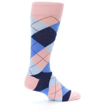 Image of Pink Blues Argyle Wedding Groomsmen Men's Dress Socks (side-1-23)