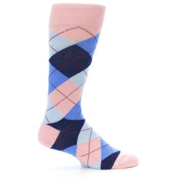 Image of Pink Blues Argyle Wedding Groomsmen Men's Dress Socks (side-1-24)
