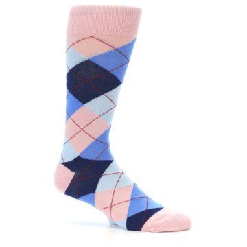 Image of Pink Blues Argyle Wedding Groomsmen Men's Dress Socks (side-1-25)
