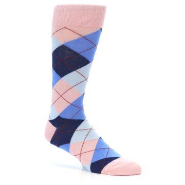 Image of Pink Blues Argyle Wedding Groomsmen Men's Dress Socks (side-1-26)