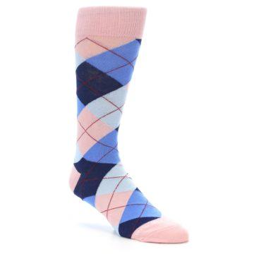 Image of Pink Blues Argyle Wedding Groomsmen Men's Dress Socks (side-1-27)