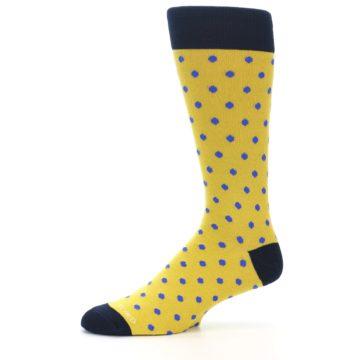 Image of Yellow Blue Polka Dot Men's Dress Socks (side-2-10)