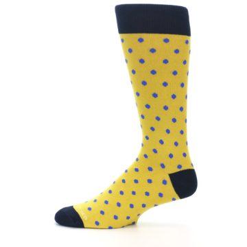 Image of Yellow Blue Polka Dot Men's Dress Socks (side-2-11)