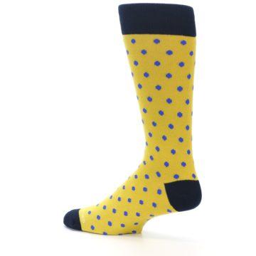 Image of Yellow Blue Polka Dot Men's Dress Socks (side-2-13)