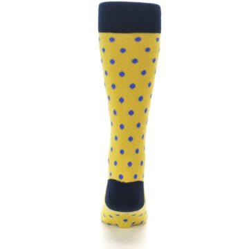 Image of Yellow Blue Polka Dot Men's Dress Socks (back-18)