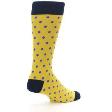 Image of Yellow Blue Polka Dot Men's Dress Socks (side-1-back-22)