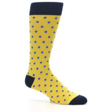 Image of Yellow Blue Polka Dot Men's Dress Socks (side-1-25)