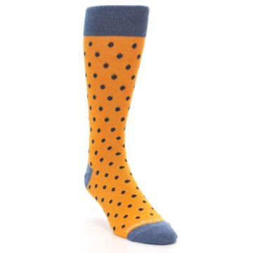 Image of Orange Navy Polka Dot Men's Dress Socks (side-1-front-02)