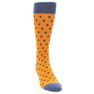 Image of Orange Navy Polka Dot Men's Dress Socks (side-1-front-03)