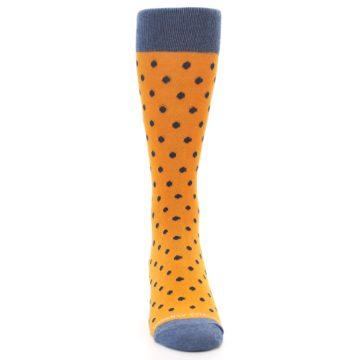 Image of Orange Navy Polka Dot Men's Dress Socks (front-04)