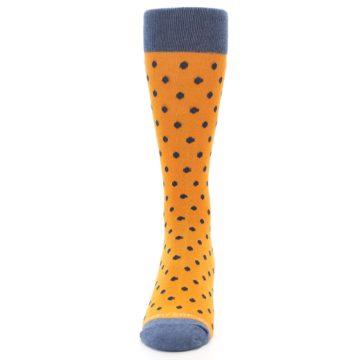 Image of Orange Navy Polka Dot Men's Dress Socks (front-05)