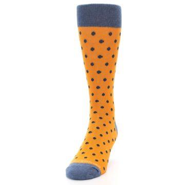 Image of Orange Navy Polka Dot Men's Dress Socks (side-2-front-06)