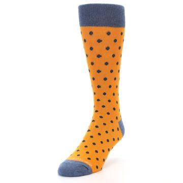 Image of Orange Navy Polka Dot Men's Dress Socks (side-2-front-07)