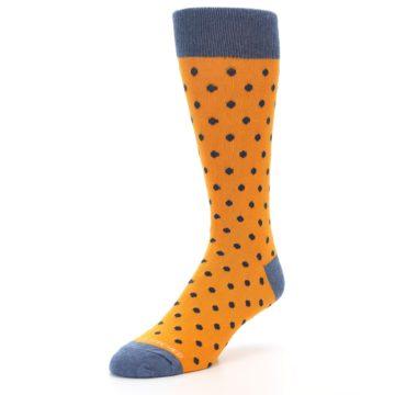 Image of Orange Navy Polka Dot Men's Dress Socks (side-2-front-08)