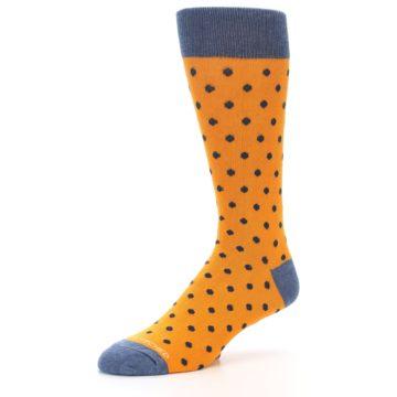 Image of Orange Navy Polka Dot Men's Dress Socks (side-2-09)