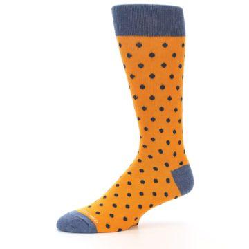 Image of Orange Navy Polka Dot Men's Dress Socks (side-2-10)