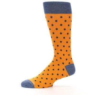 Image of Orange Navy Polka Dot Men's Dress Socks (side-2-11)