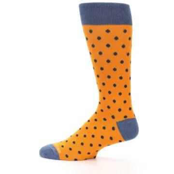 Image of Orange Navy Polka Dot Men's Dress Socks (side-2-12)