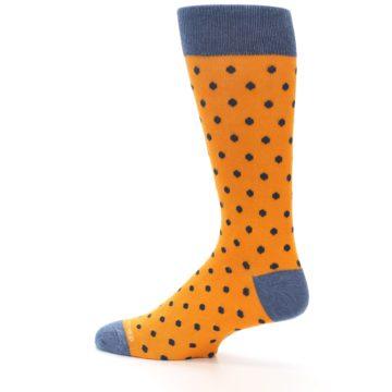 Image of Orange Navy Polka Dot Men's Dress Socks (side-2-13)