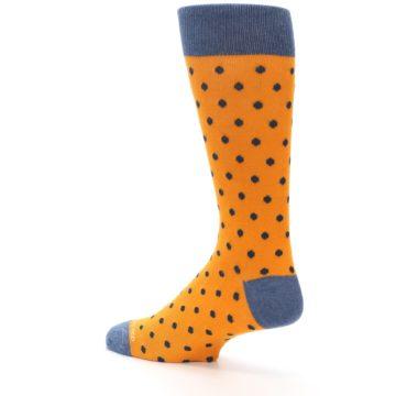 Image of Orange Navy Polka Dot Men's Dress Socks (side-2-back-14)