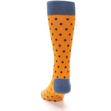 Image of Orange Navy Polka Dot Men's Dress Socks (back-17)