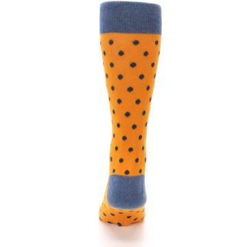 Image of Orange Navy Polka Dot Men's Dress Socks (back-18)