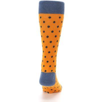 Image of Orange Navy Polka Dot Men's Dress Socks (back-19)