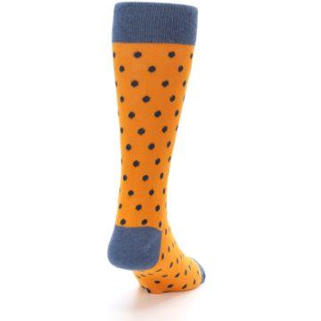 Image of Orange Navy Polka Dot Men's Dress Socks (side-1-back-20)