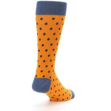Image of Orange Navy Polka Dot Men's Dress Socks (side-1-back-21)