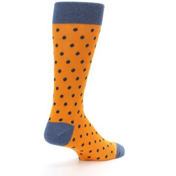 Image of Orange Navy Polka Dot Men's Dress Socks (side-1-back-22)