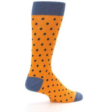 Image of Orange Navy Polka Dot Men's Dress Socks (side-1-23)